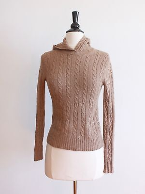 J Crew Wool Sweater Cashmere Angora Hooded Cable Knit Jumper Pullover Brown XS