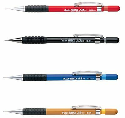 Pentel 120 A3 DX Mechanical Automatic Draughting Pencil Rubber Grip + 2 HB Leads