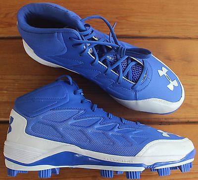 Under Armour Heater Mid Baseball Cleats MOLDED Blue Men's Size 8 NEW