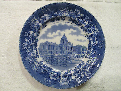 Vintage Flow Blue Plate Pennsylvania State Capital Building Made in England