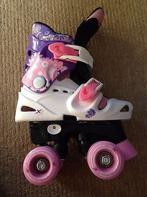 Girls Pink, Purple and White XQ Max Roller Boots Size 9-12 (Adjustable)