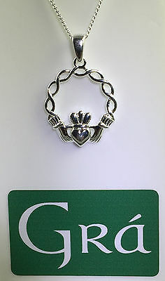 Sterling Silver Celtic Weave Claddagh Pendant - MADE IN IRELAND