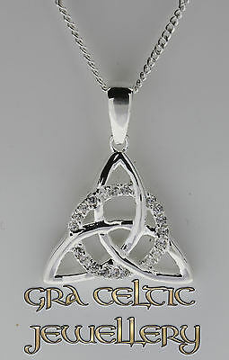 The Circle of Life Trinity Pendant with CZ stones, Silver MADE IN IRELAND