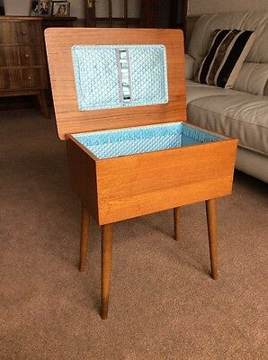 Vintage Wooden Sewing Box/Table/Storage with Removable Legs1960's