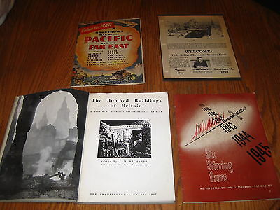 Lot of Original WWII Items Booklets and Maps Hagstroms Pacific Bombed Buildings