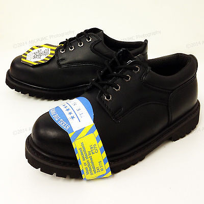 """New Men's Steel Toe Work Boots 4"""" Black Leather Oxford Oil Resistant Shoes Sizes"""