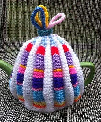 Hand Knitted Multicoloured Vintage Style Tea Cosy, 4-6 Cup Size