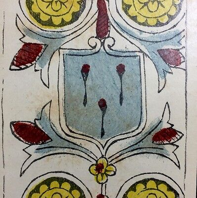 c1780 Four of Coins Painted Antique Tarot Marseille Playing Cards Single +COA
