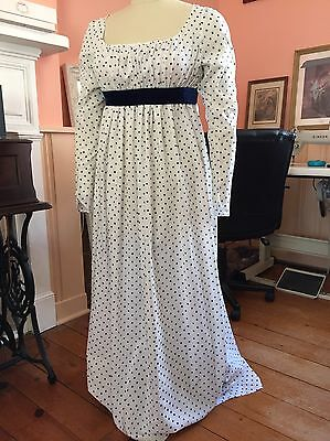 Authentic 1790s-1805 Regency / Federalist Era Gown ~ Hand Finished
