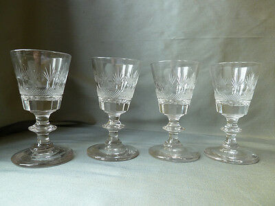 4 antique Victorian dram glasses with complex cut,  knopped stem