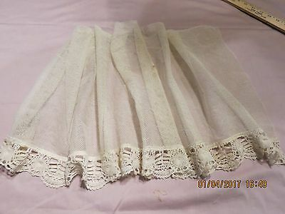 "1900""s  Cotton  Netting Lace Bottom  21 -1/2""   14""antique  Doll  Dress  Slip"