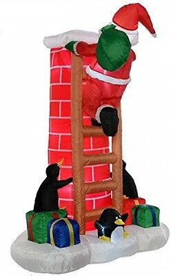 WeRChristmas 180 Cm Large Pre-Lit Santa Climbing Chimney Inflatable Christmas