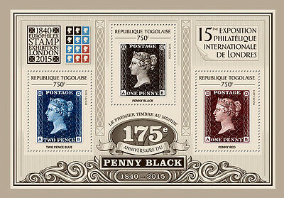 Togo 2015 Penny Black Stamp 175th Aniv Rowland Hill Big Ben S/S/FDC/IMPERF 114