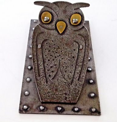 Vintage Brass Owl Arts and Crafts Mission Hand Made Paper Clip Desk GERMANY