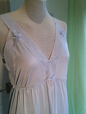 NIGHT DRESS FULL LENGTH VINTAGE 80s SLIP BLUE WITH LACE AND BOW DETAIL STUNNING
