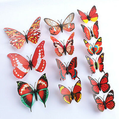 DIY Butterfly Wall Sticker Butterfly Home Decor Room Stickers 12Pcs/Set  Red 3D