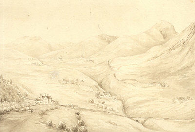 H.S. Clinton - Early 19th Century Pen and Ink Drawing, Valley Landscape