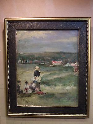 Vintage Old  oil painting of Children in a beach and harbour scene
