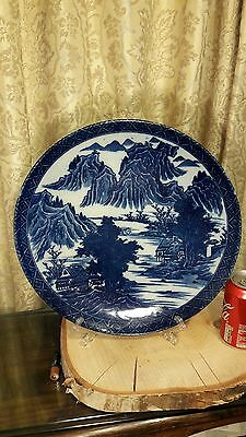"""Stunning Chinese Antique 19thC/20thC Handpainted Blue & White Large Charger 13"""""""