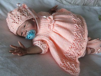 "new hand knitted dress set 4 piece 0 /3 month or reborn doll 19""22"""