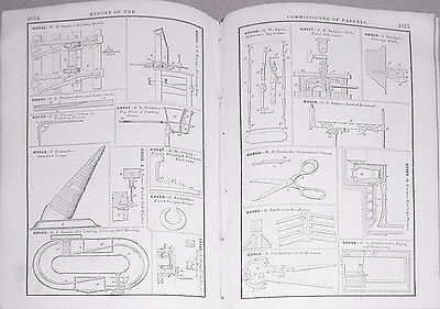 1867 -US Patent Office Report- Vintage Americana Book w/3000+ Illustrations