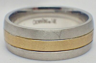 14K White & Yellow Gold Men's Carved Crown Ring Band 8mm Wide Size 10