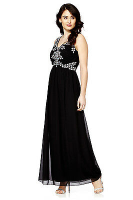 NEW Black Maxi Dress Gatsby Dress Embellished Bridesmaid Party Gown SIZE 12