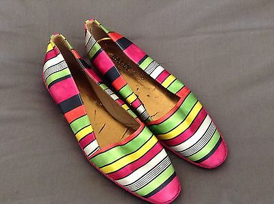 Bally 1980's True Vintage Striped Satin Espadrilles Sz 37.5