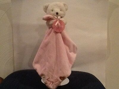 NWT Carters White Teddy Bear Plush Stuffed Baby Lovey Pink Plush Security Easter