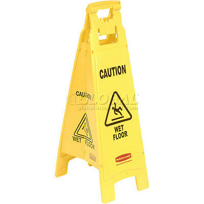 Rubbermaid 6114-77 Wet Floor Sign, 4-Sided Yellow