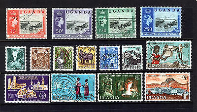 UGANDA 1962-64 SPEKE & INDEPENDENCE SETS TO 10s MINT OR USED SG 95 -109:See Scan