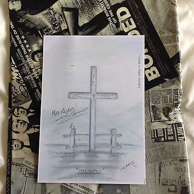 PAUL MASSEY TRIBUTE ART  A4 PRINT BRONSON HAND SIGNED + Signed Card And Keyring
