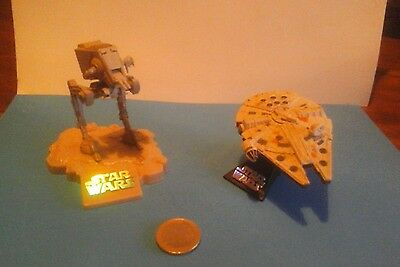 """Star Wars - """"millenium Falcon & At-At""""--Die Cast--Complete--Vgc--2004"""