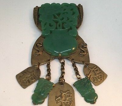 Chinese Export Faux Jade Large Brooch With Serpents Vintage