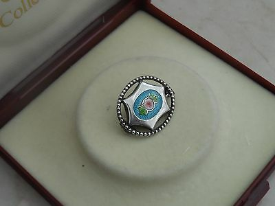 Nice Vintage Little Miniature Sterling Silver & Enamel Brooch 2.48gr