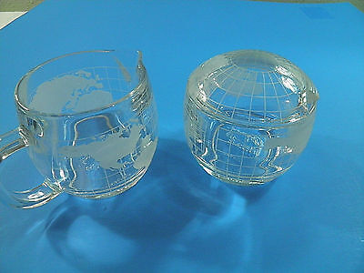 NESCAFE Cream Pitcher and Sugar Bowl with Lid Clear Glass Etched World Map