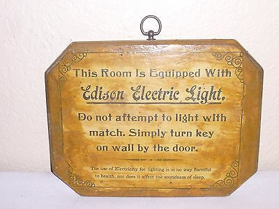 Vintage This Room Equipped WIth EDISON ELECTRIC LIGHT Wood Sign