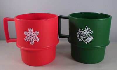 Lot of Vintage Tupperware Stackable Christmas Mug Cup Green Red