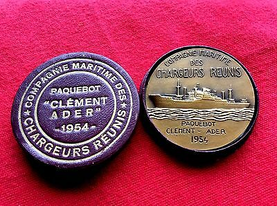 Ancienne Medaille Paquebot Clement Ader 1954 Compagnie Maritime