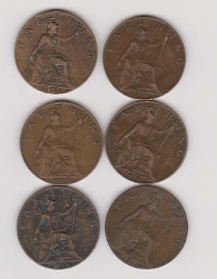 Qty 6 King George V Farthings