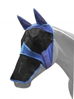NEW Showman Blue Fleece Fly Mask w/Ears and Removeable Nose Large Horse/Draft