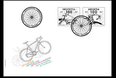 Switzerland 2017 - 200th anniv. of the bicycle FDC - First day cover