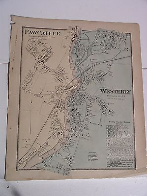 1870 Beers Rhode Island Map Westerly Pawcatuck