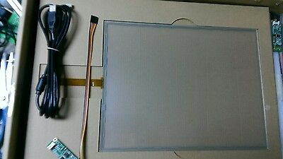 """New 15"""" inch 5 wire touch screen panel with controller, usb cable and drivers."""