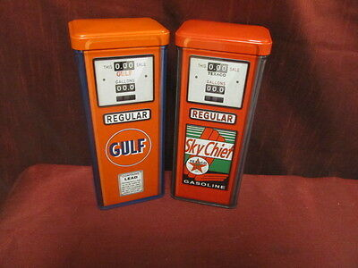 "Texaco & Gulf 8"" Metal Gas Pump Replica Tins-Really Unique!"