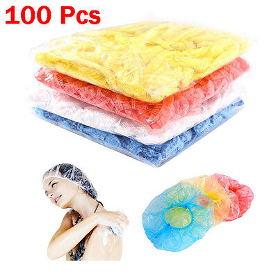 100Pcs Disposable One-off Hotel House Shower Bathing Clear Hair Elastic Caps Hat