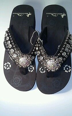 0f2af638417eb Montana West Women Flip Flops Wedged Bling Sandals Large Floral Concho Black