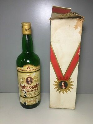Ambassador Deluxe Scotch Whiskey Bottle EMPTY W/ Box Vintage Rare Collectible