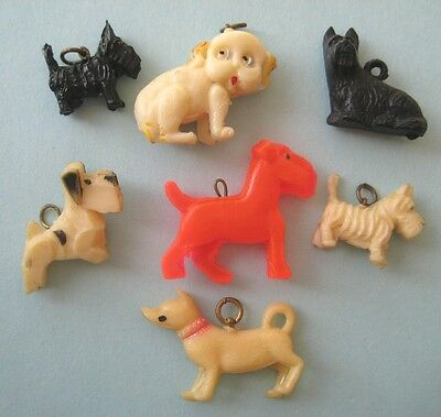 1940's VINTAGE Celluloid Charms ALL DOGS Cracker Jack Prize LOT #3