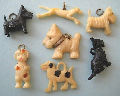 1940's VINTAGE Celluloid Charms ALL DOGS Cracker Jack Prize LOT #2